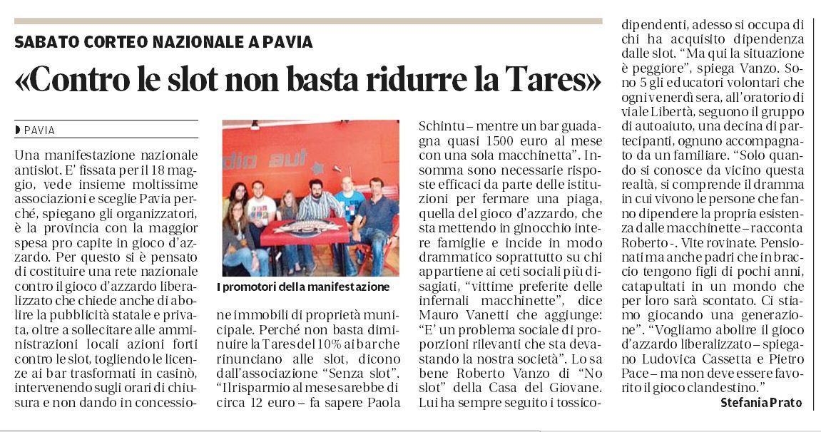"""Ritaglio de """"la Provincia Pavese"""" del 10 maggio 2013"""